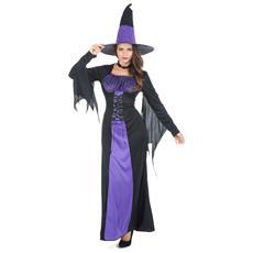 Costume Da Strega Nero E Viola Halloween Donna Taglia Unica