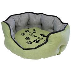 Cuccia Imbottita, comoda Per Cani Misure: 60x50xh21 Cm. Colore Verde