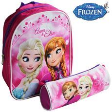 Kit Frozen Zaino + Astuccio Tombolino Elsa Anna Regno Di Ghiaccio Disney Asilo