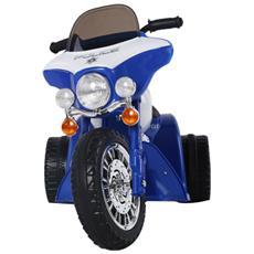 Triciclo Moto Elettrica Della Polizia Per Bambini Blu