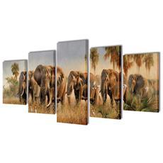 5 Pz Set Stampa Su Tela Da Muro Leoni 100 X 50 Cm