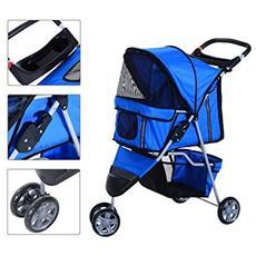 Passeggino per cani carrello per animali domestici carrello carrozzina blu 75 x 45 x 97cm