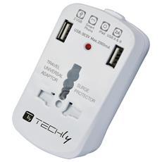 IPW-ADAPTER6 - Adattatore Universale da Viaggio da 2A per Prese Elettriche 2 USB