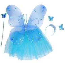 Costume Fatina Farfalla Blu Con Ali Bacchetta E Tiara Per Bambine 36 Mesi