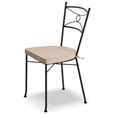 Sedia In Ferro Nero H91cm Cuscino Bianco Incluso 06463