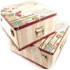 set di due casse bauli giocattolo 'belle epoque' rosa taupe - [ l1945]