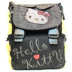Zaino Hello Kitty Con Brillantini Estendibile - 2 Scompartimenti Interni + 2 Tasche Frontali + 2 Taschini Laterali