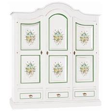 Armadio Legno Bianco Opaco Decorato Fiori Verde - Codluis 342