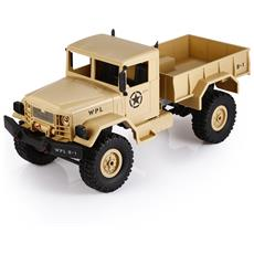 Wpl B - 1 1:16 Mini Fuoristrada Rc Military Truck Rtr A Quattro Ruote Motrici / Sospensioni Metalliche / Led Luminoso