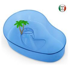 Tartarughiera aperta in plastica con palme 40x27xH10 cm colori assortiti