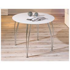 Tavolo Rotondo In Mdf Laccato Bianco E Metallo, 100x100 Cm