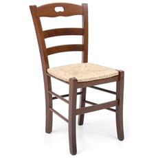 Sedia Loris in legno di faggio color noce con seduta in paglia 2 Pz