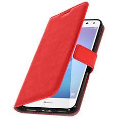 Custodia Per Huawei Nova Young Tipo Portafoglio Stile Vintage Rossa