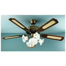 7066OB Ventilatore da Soffitto 5 Pale Diametro 130 cm Kit Luce Colore Ottone Brunito