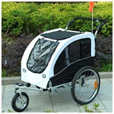 Carrellino rimorchio per cani da bicicletta bianco / nero