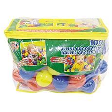 Sacco valigetta con 100 Palline in plastica colorate diametro 6 cm
