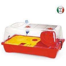 Box roditori rosso con coperchio rimovibile con ruota gioco 58x32xH31 cm