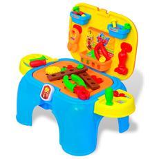 Giochi Da Camera Per Bambini Banco Lavoro Con Attrezzi Blu + Giallo
