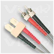 62.5/125 ST to SC Duplex Fibre Optic Cable 2m 2m Grigio cavo a fibre ottiche