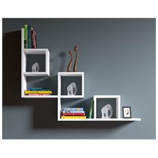Tail Mensola Da Muro - Mensola Parete - Mensola Libreria - Scaffale Pensile Per Studio / Soggiorno In Design Moderno (Bianco)