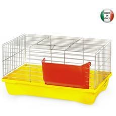Gabbia per conigli con base polipropilene e mangiatoia 58x32xH31 cm