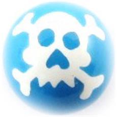 sfera in acrilico 'tête de mort' blu - [ j4144]