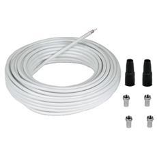 Kit di connessione SAT con 4 spine F e 2 tubi di protezione, 85 db, 20m