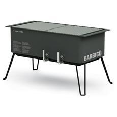 AF501 Barbecue a Carbonella con 2 Griglie in Acciaio Inox 28.5 x 27.5 cm