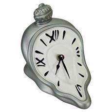 Orologio da tavolo ''Orologio ore sciolte'' in resina decorata a mano Meccanismo al quarzo tedesco UTS Dimensione cm 13x16x14 Colore alluminio e bianco