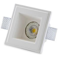 Porta Faretto Fisso In Gesso Incasso Lampadine Led Quadrato Gu10 12x12cm