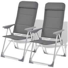 2 Pz Sedie Da Campeggio In Alluminio Grigio 56x60x112 Cm