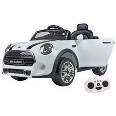 Auto Elettrica per Bambini Mini Cooper Cabrio F57 con Radiocomando Genitori Colore Bianco