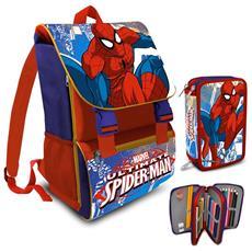 Zaino Scuola Estensibile Spiderman Cartella + Astuccio Completo 3 Zip