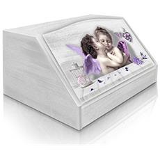 Portapane Con Decoro In 'kiss Violet' In Legno White Dalle Dimensioni Di 30x40x20 Cm