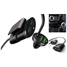 Caricabatterie Da Auto Con Estensione Per Sedile Posteriore Carica Batterie 4 Porte Usb 5.1a Alimentatore Per Ios Android