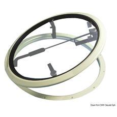 Controflangia per Passo Uomo a Basso Profilo Circolare Bianco Alluminio 306 x 376 mm 19.724.11