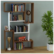 Corgin Libreria - Noce / Bianco - Scaffale Per Libri - Scaffale Per Ufficio / Soggiorno Dal Design Moderno