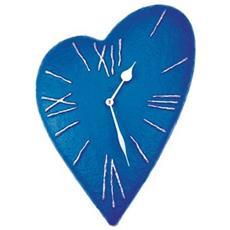 Orologio da parete ''Batticuore'' in resina decorata a mano Meccanismo al quarzo tedesco UTS Dimensione cm 50x35x4 Colore blu