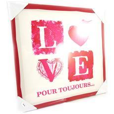 canvas 'love' red ecru (40x40 cm) - [ m2198]