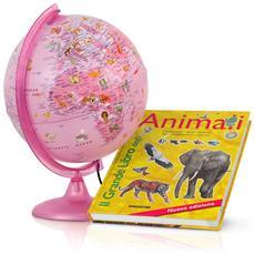 Mappamondo Globo Luminoso Pink Zoo Rosa Con Libro 25 Cm Tecno Didattica Bambini