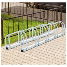 Rastrelliera Portabiciclette Parcheggio Per 5 Biciclette Tubi D'acciaio 130x33x27cm