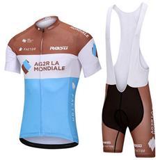 Ag2rla Mondiale Tuta Da Ciclismo Estiva Da Uomo Comoda Maglia A Maniche Corte E Pantaloncini Imbottiti 4d Traspiranti Vestiti Da Ciclismo S
