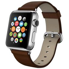 Cinturino WristBand in vera pelle per Apple Watch da 42mm - Marrone
