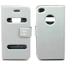 Custodia Cover Pelle Per Iphone 4 4S - Con Fessure Bianco