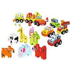 ECF7600007770 Maxi Abrick Maxi Set 3 in 1 animali, veicoli e trenino