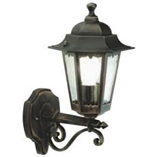 Applique in alto design classico illuminazione da esterno nero-oro 6pz