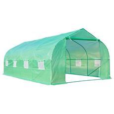 Serra da giardino 6 x 3 x 2 m serra con tetto a spiovente in pe per piante verde