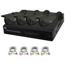 Kit Videosorveglianza - 4 Telecamere Ir 1000Tvl - 4 Cavi - Hd 500Gb