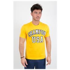 T-shirt Tee Scritta Usa Giallo M