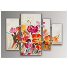 Fiori Multicolore Quadro, Dipinto A Mano Floreale Moderno Su Tela Con Decorazioni In Rilievo E Montato Su 4 Telai Estetici Alti